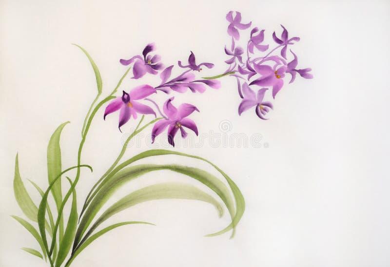 Orquídeas púrpuras salvajes ilustración del vector