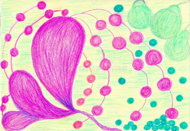 Orquídeas y peras ilustración del vector
