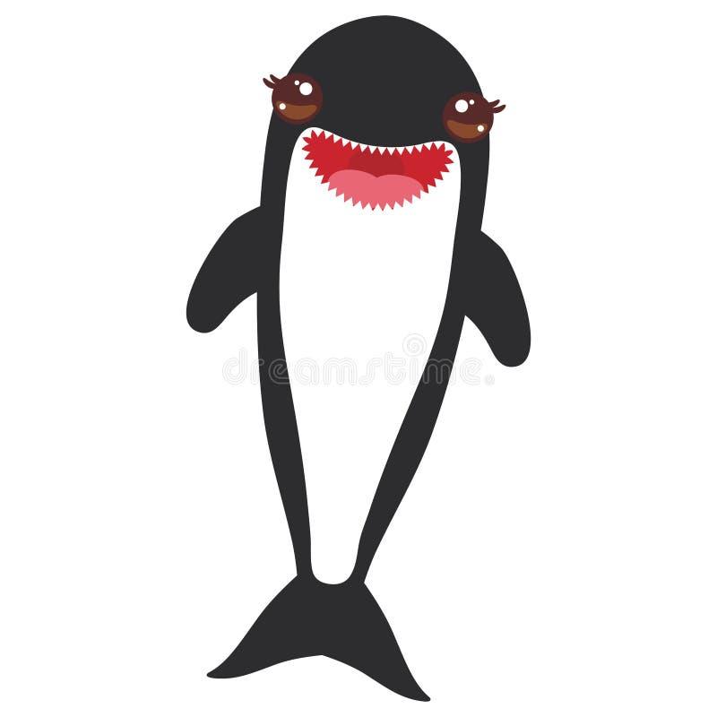 Orque d'épaulard de bande dessinée, épaulard, loup de mer Kawaii avec les joues roses et sourire positif sur le fond blanc Vecteu illustration stock