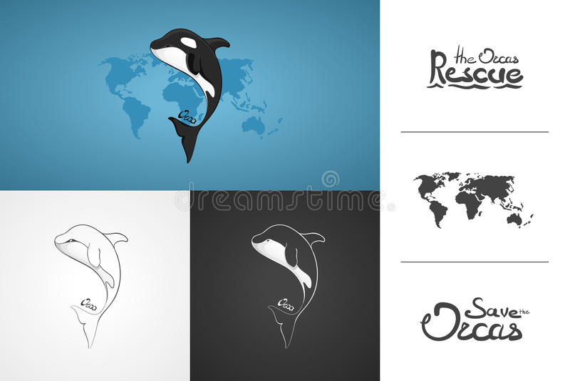 Orque de baleine Illustration tirée par la main de vecteur de concept, logo Conception d'icône simple avec le texte Art de croqui illustration stock