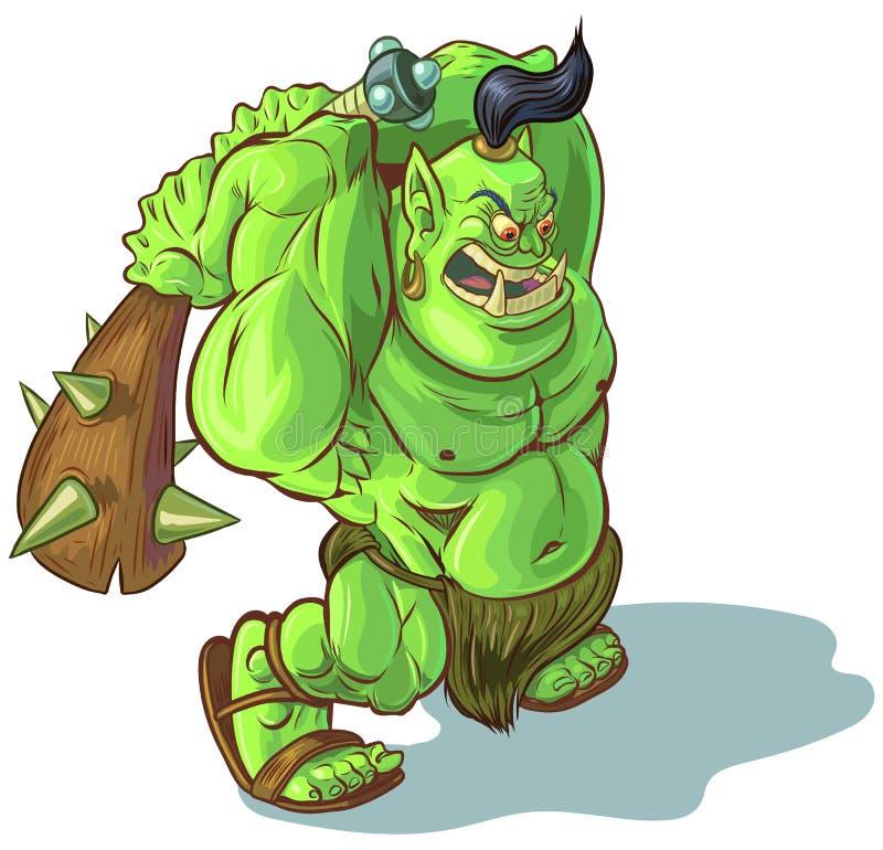 Orque ou ogre de Troll de bande dessinée de vecteur avec le club élevé illustration de vecteur