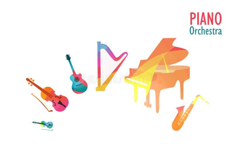 Orquesta del piano, sistema de instrumentos de música ilustración del vector