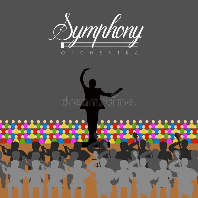 Orquesta en un teatro ilustración del vector
