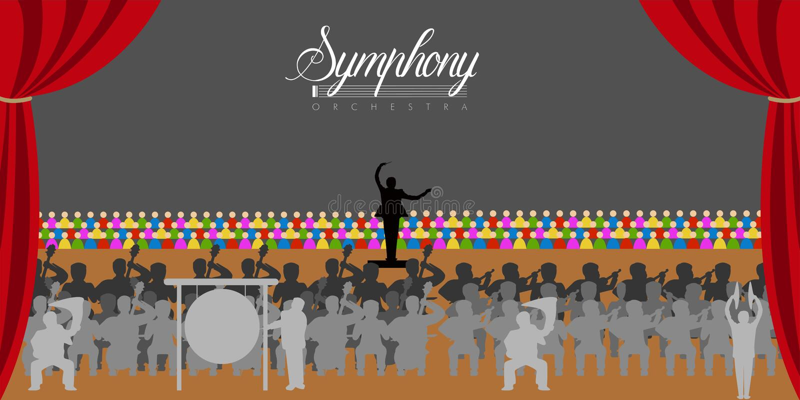 Orquesta en un teatro stock de ilustración