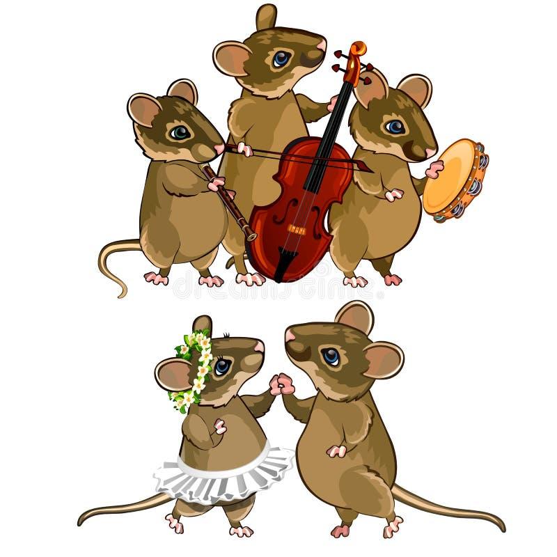 Orquesta musical del ratón y un par del baile ilustración del vector