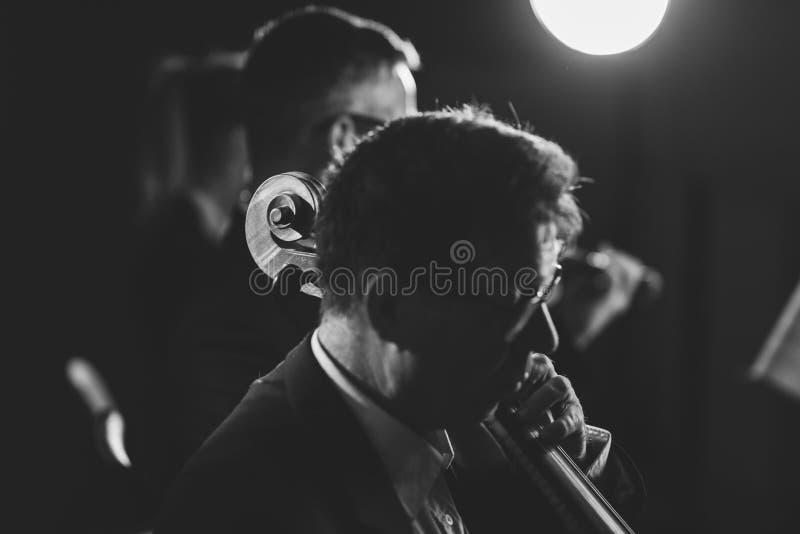Orquesta sinfónica que juega en etapa foto de archivo libre de regalías