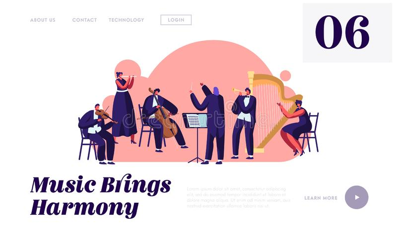 Orquestra sinfônica que joga a página, o maestro e os músicos da aterrissagem do Web site do concerto da música clássica com exec ilustração do vetor
