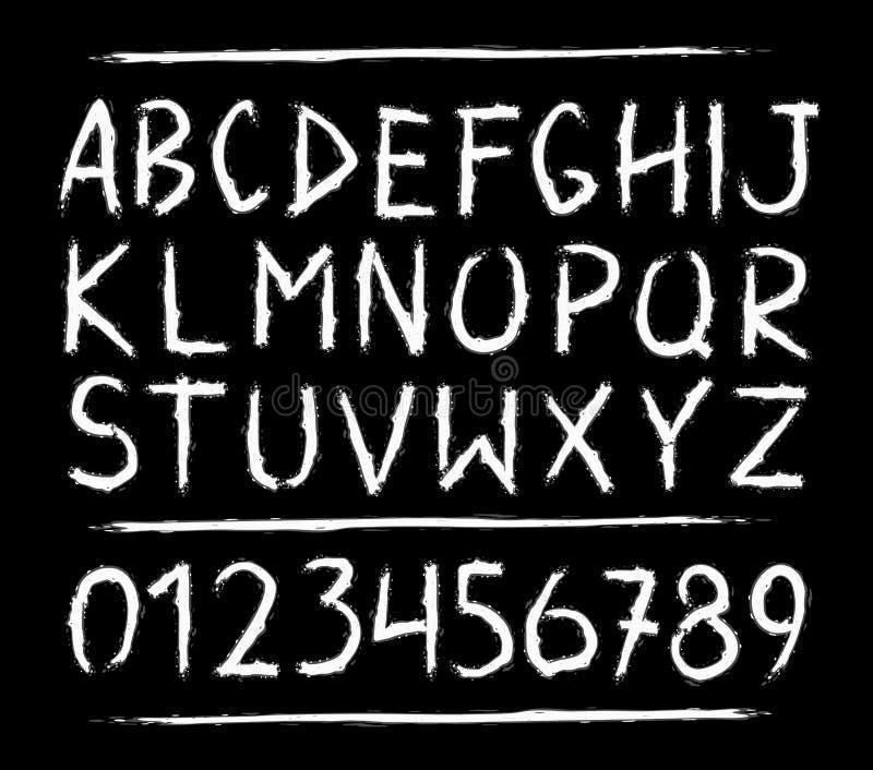 Orrore disegnato a mano, lettere spaventose illustrazione di stock