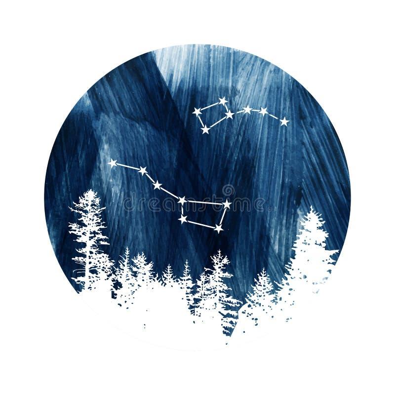 Orsa maggiore e poche costellazioni di Dipper illustrazione di stock