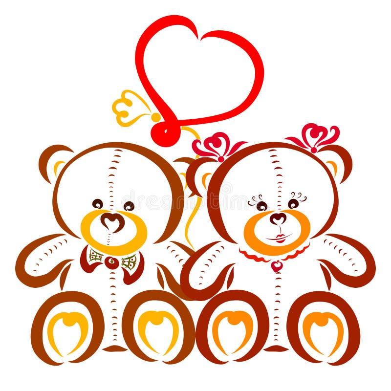 Orsacchiotti svegli e pallone a forma di del cuore illustrazione di stock