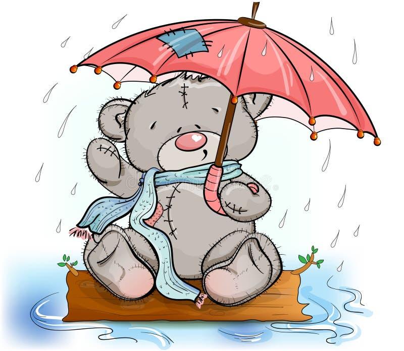 Orsacchiotto che si siede sotto un ombrello illustrazione di stock