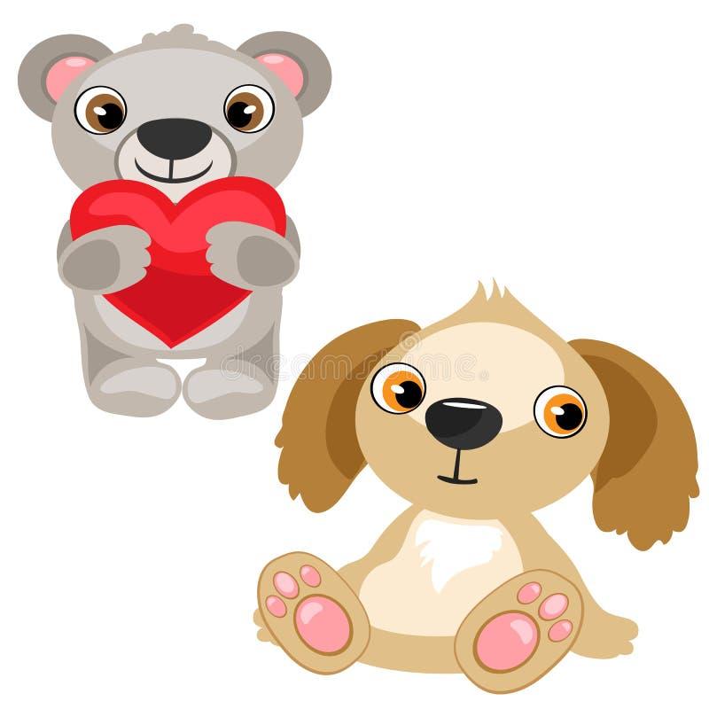 Orsacchiotto con cuore ed il cane farciti, giocattolo del bambino illustrazione di stock