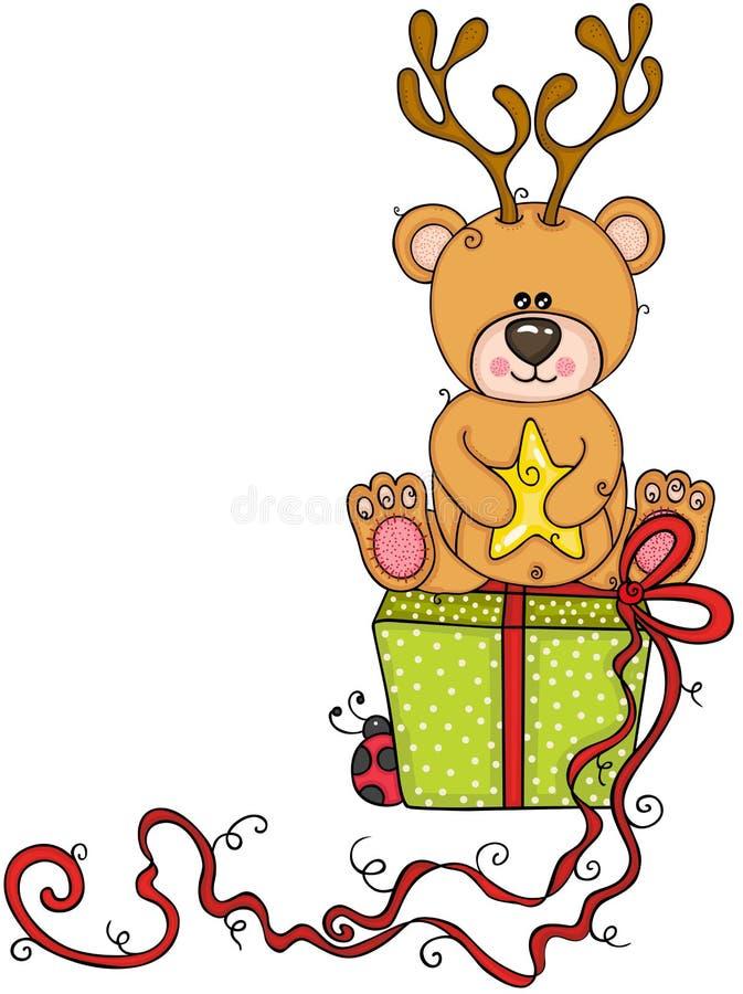Orsacchiotto con con i corni dei cervi che si siedono sul regalo verde royalty illustrazione gratis