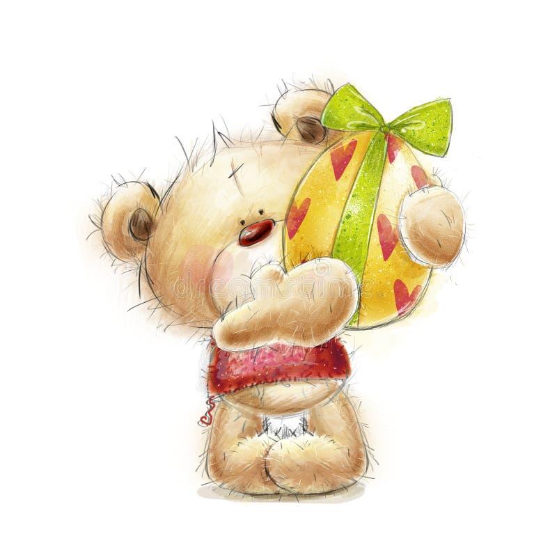 Orsacchiotto con l'uovo di Pasqua Cartolina con l'orso e l'uovo di Pasqua Pasqua felice Orsacchiotto disegnato a mano isolato su  royalty illustrazione gratis