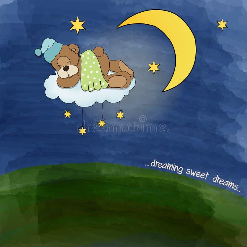 Orsacchiotto del bambino che dorme sulla nuvola illustrazione di stock