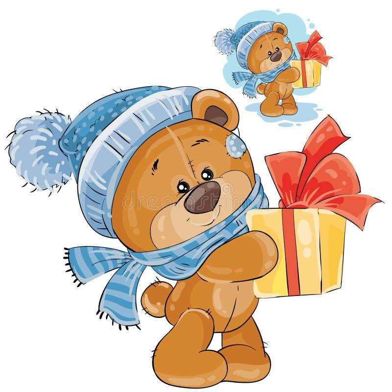 Orsacchiotto di vettore in un cappuccio ed in una sciarpa tricottati che passa un contenitore di regalo illustrazione di stock