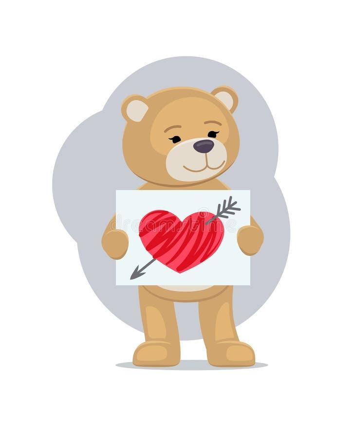 Orsacchiotto farcito con il foglio di carta e cuore rotto royalty illustrazione gratis