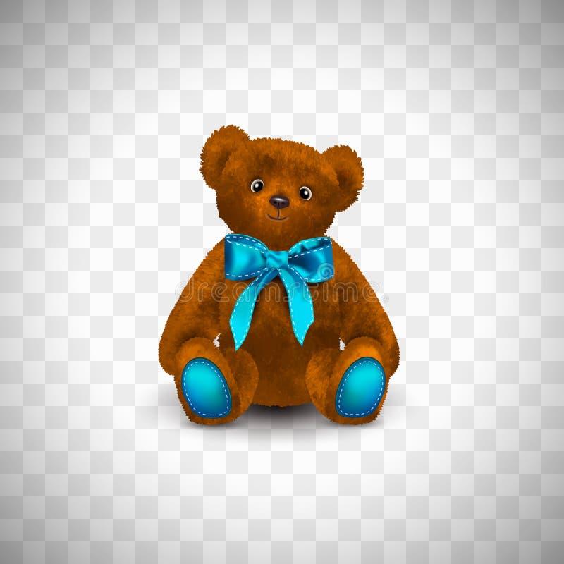Orsacchiotto marrone-rosso o rufous sveglio lanuginoso di seduta con il nastro blu o l'arco luminoso Il giocattolo dei bambini is illustrazione di stock