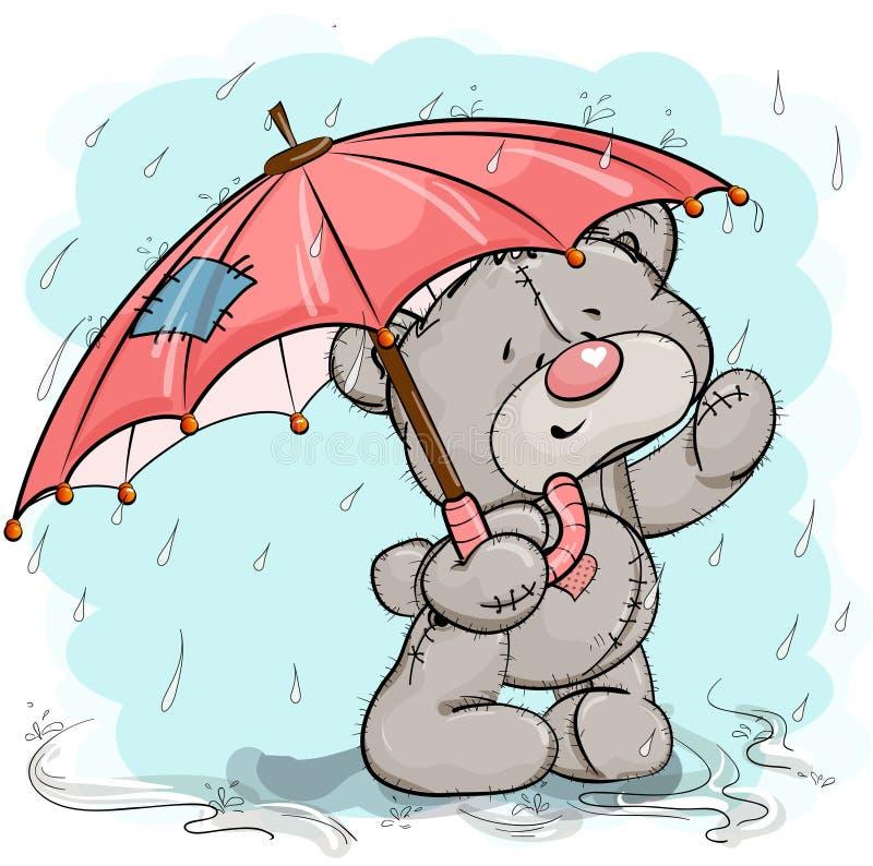 Orsacchiotto nei supporti con un ombrello nella pioggia royalty illustrazione gratis