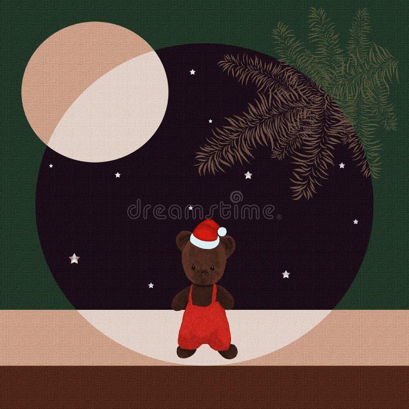 Orsacchiotto nel cappuccio di Natale contro il cielo stellato royalty illustrazione gratis