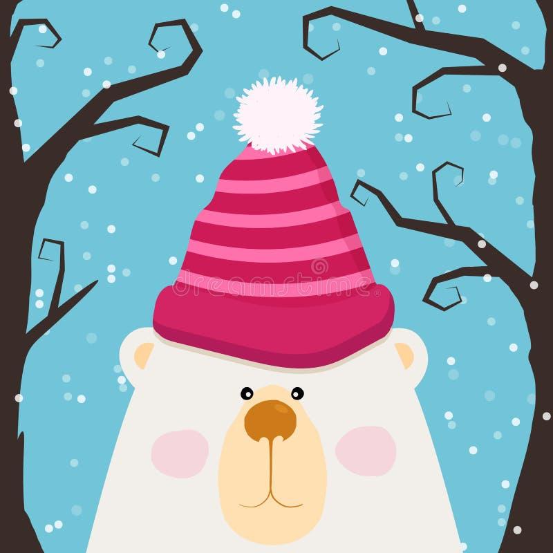 Orsacchiotto sveglio in cappuccio ed in guance rosa, progettazione per i bambini, illustrazione di vettore Scheda anno di nuovo e royalty illustrazione gratis