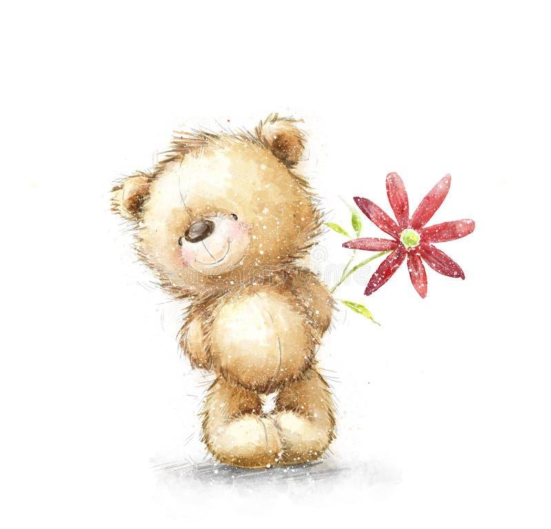 Orsacchiotto sveglio con il fiore rosso Ti amo Cartolina d'auguri di compleanno illustrazione di stock