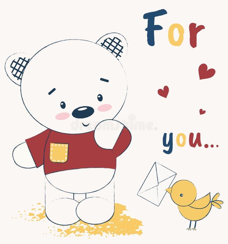Orsacchiotto sveglio e un uccello con una lettera L'illustrazione di vettore, stampa di carta dei bambini, può essere usata per s illustrazione di stock