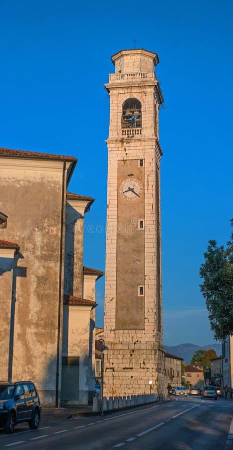 Orsago, Италия - 18-ое октября 2018: Колокольня церков Orsago, Италия стоковые изображения rf