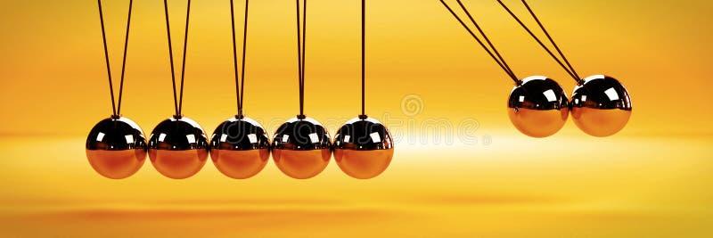 Orsak - och - effektbegrepp, vagga för metallNewton ` s med två bollar i rörelse på en vit bakgrund arkivbild