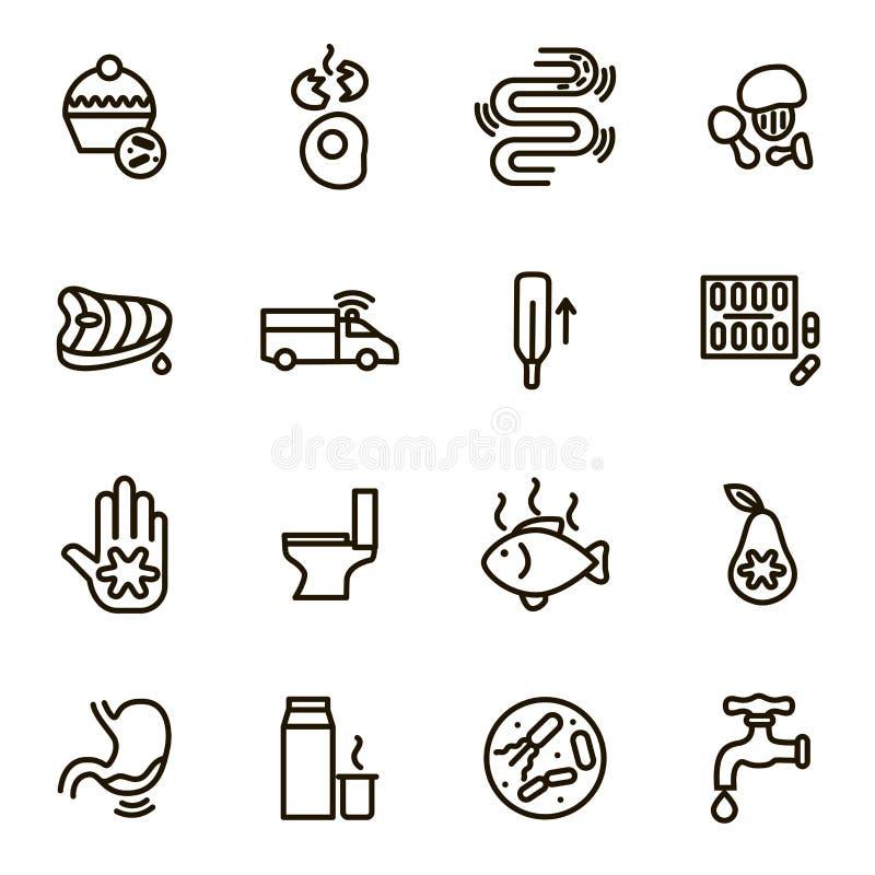 Orsaker av diarrésvart gör linjen symbolsuppsättning tunnare vektor royaltyfri illustrationer