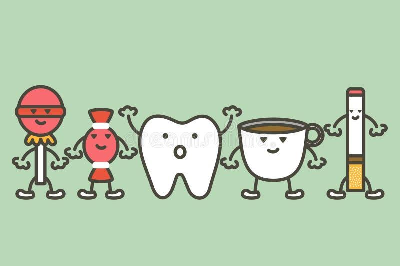 Orsaker av tandskada, förfall och gulingtandbegreppet stock illustrationer