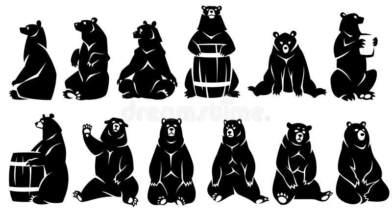 Orsi decorativi di seduta dell'illustrazione illustrazione vettoriale