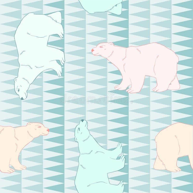 Orsi polari al polo nord Reticolo senza giunte Vettore royalty illustrazione gratis