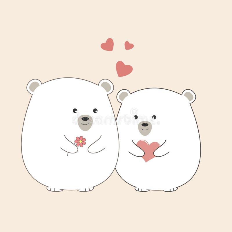 Orsi polari del fumetto adorabile della cartolina d'auguri due royalty illustrazione gratis