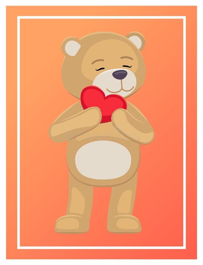 Orso adorabile adorabile di Teddy Gently Holds Heart Head illustrazione di stock