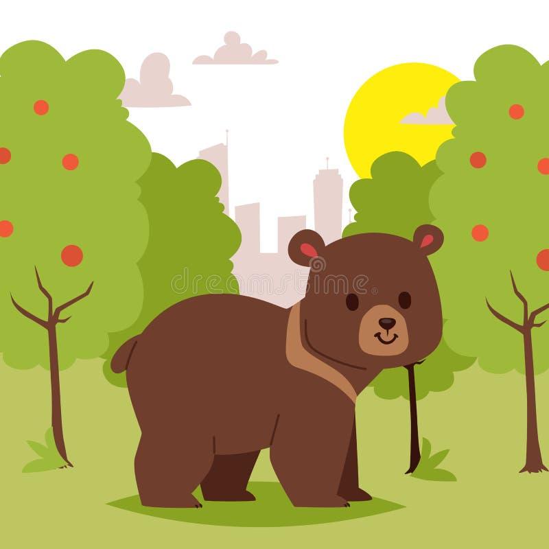 Orso animale del fumetto selvaggio che cammina nell'area verde sull'illustrazione di vettore dell'insegna del fondo della città B illustrazione vettoriale