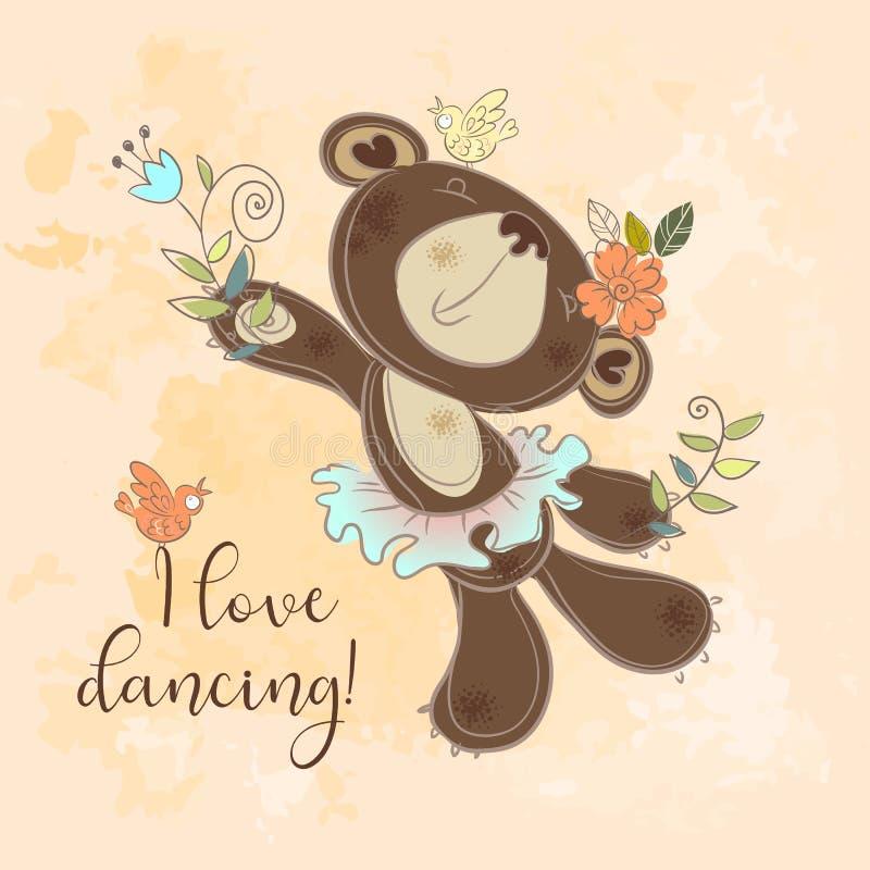 Orso ballante in un tutu Carattere sveglio del ` s dei bambini Amo ballare Vettore royalty illustrazione gratis