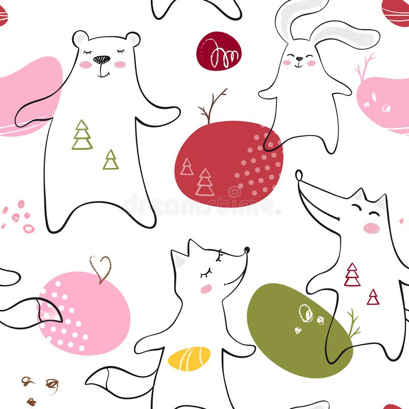 Orso ballante, volpe, lupo, modello senza cuciture del bambino del coniglietto L'animale sveglio ascolta musica con progettazione royalty illustrazione gratis