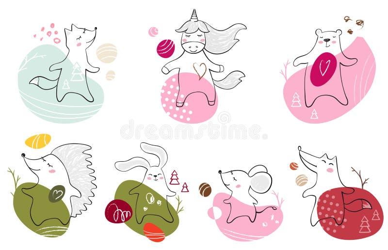 Orso ballante, volpe, lupo, topo, coniglietto, unicorno, stampa del bambino dell'istrice L'animale sveglio ascolta musica con l'e illustrazione di stock