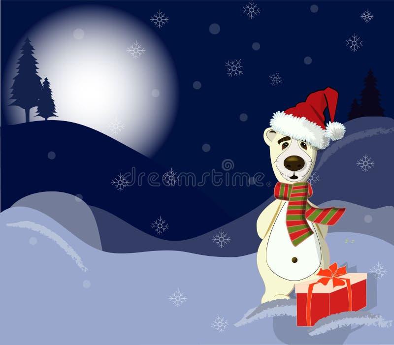 Orso bianco con il presente Orario invernale Illustrazione di vettore royalty illustrazione gratis