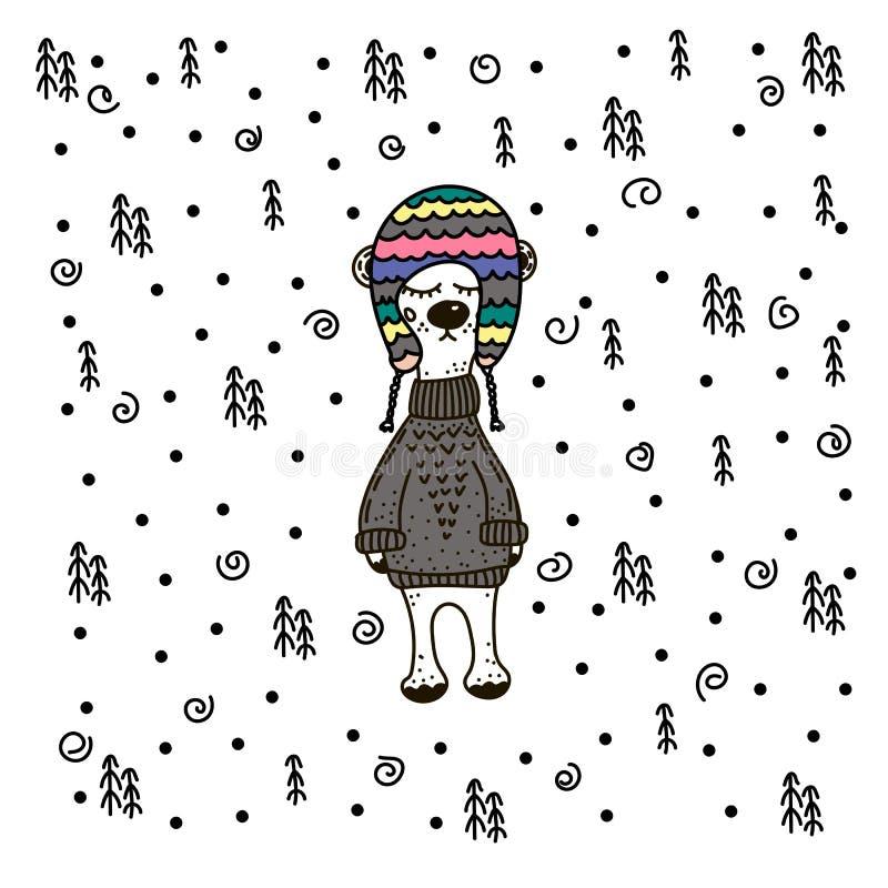 Orso bianco sveglio in cappuccio tricottato sotto la neve Immagine per le stampe, cartoline di Natale, coperture, manifesto illustrazione vettoriale