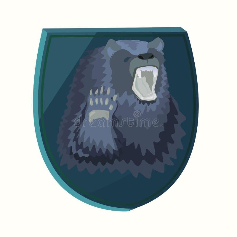 Orso blu farcito autoadesivo illustrazione di stock