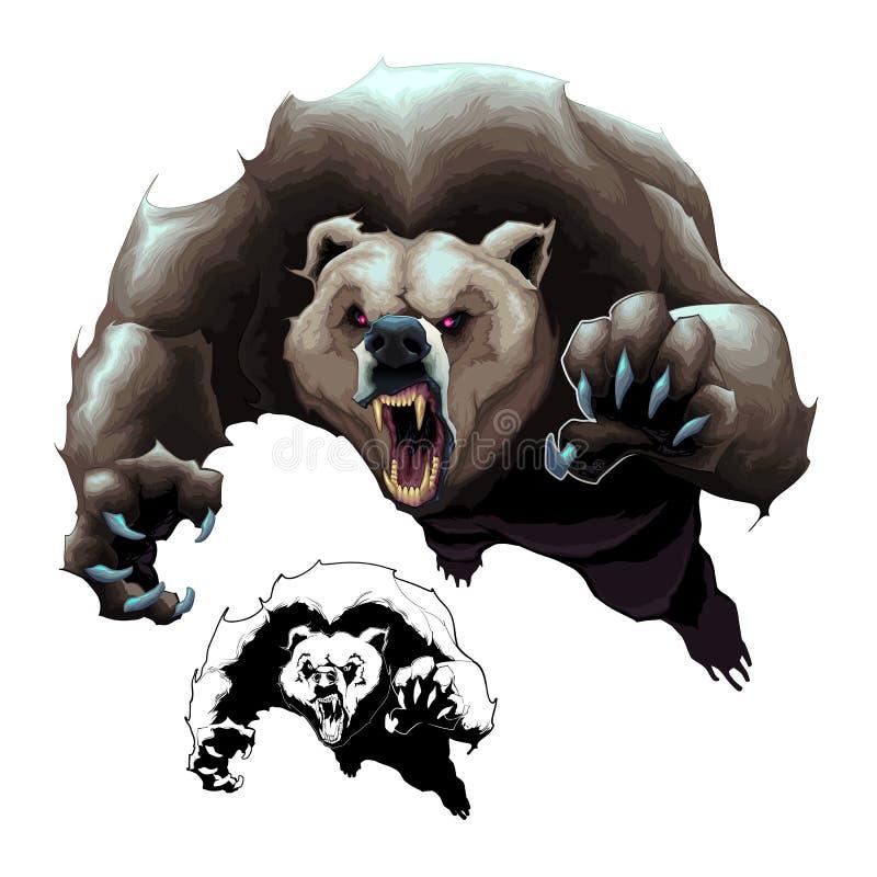 Orso bruno arrabbiato illustrazione vettoriale