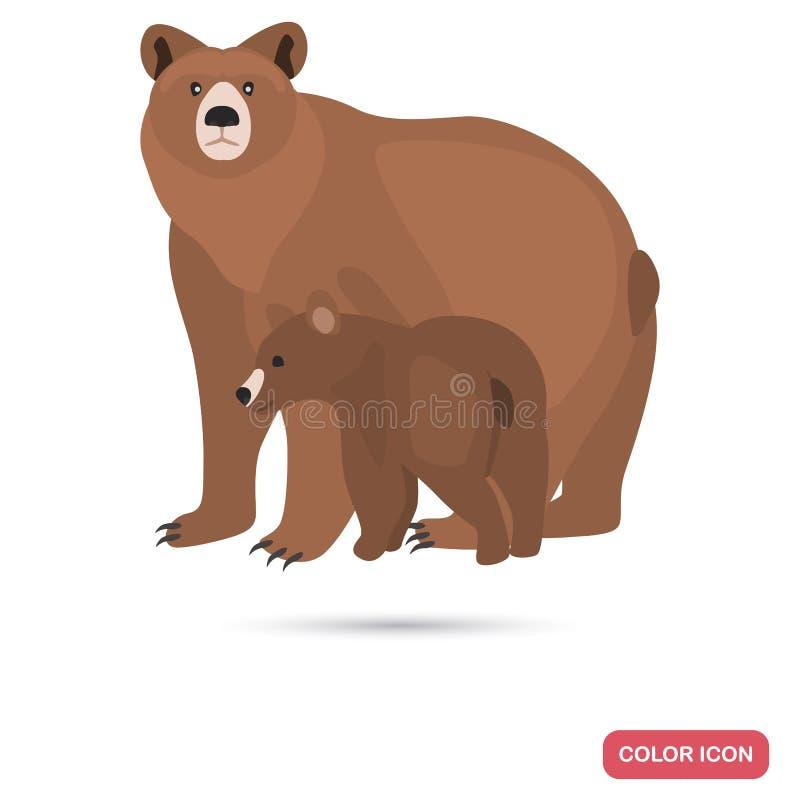 Orso bruno con l'icona piana di colore del cucciolo illustrazione di stock