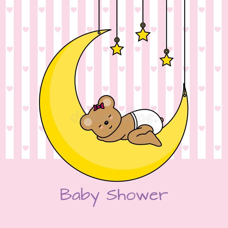 Orso che dorme sulla luna royalty illustrazione gratis