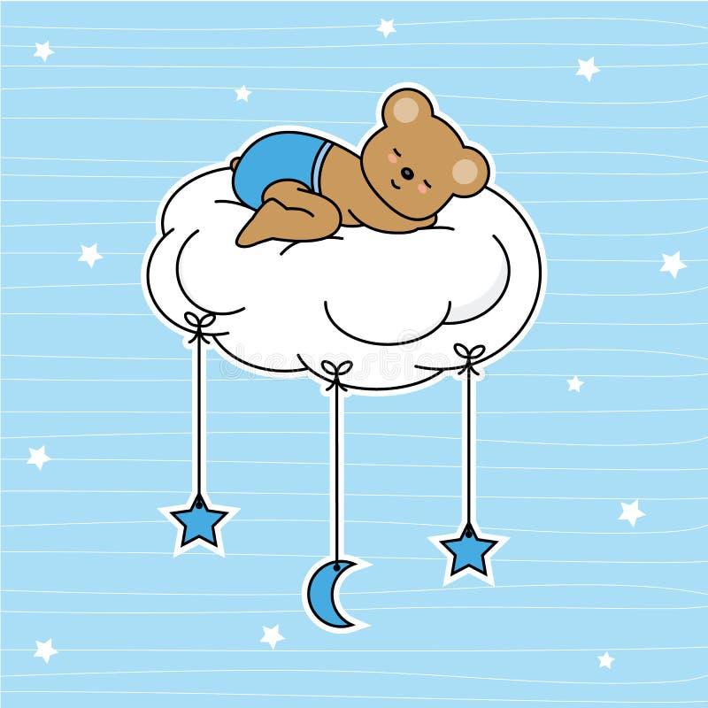Orso che dorme sulla nuvola illustrazione vettoriale