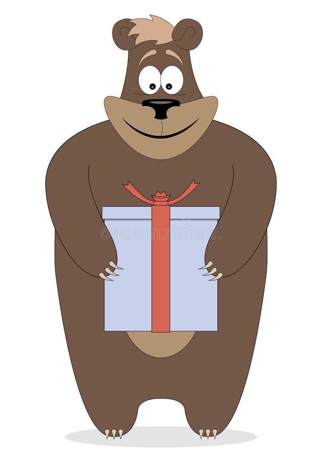 Orso che tiene un regalo in zampe royalty illustrazione gratis