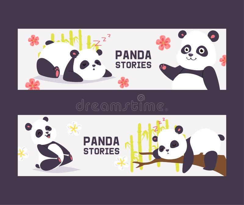 Orso cinese di gatto orsino nero di vettore del panda con l'insieme di bambù del contesto dell'illustrazione di sonno o di gioco  illustrazione vettoriale
