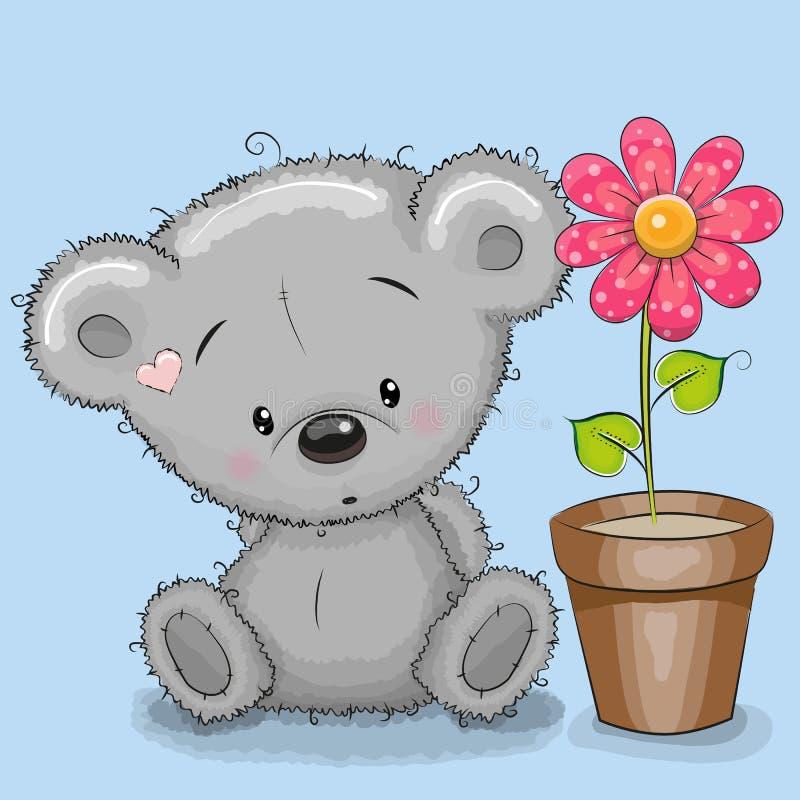 Orso con il fiore illustrazione vettoriale