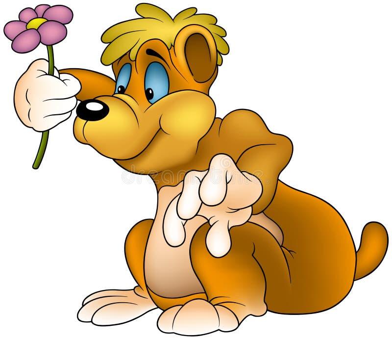 Orso con il fiore royalty illustrazione gratis